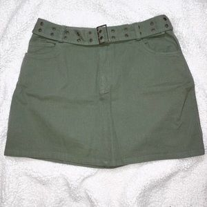 NWT Olive Green Belted Mini Skirt